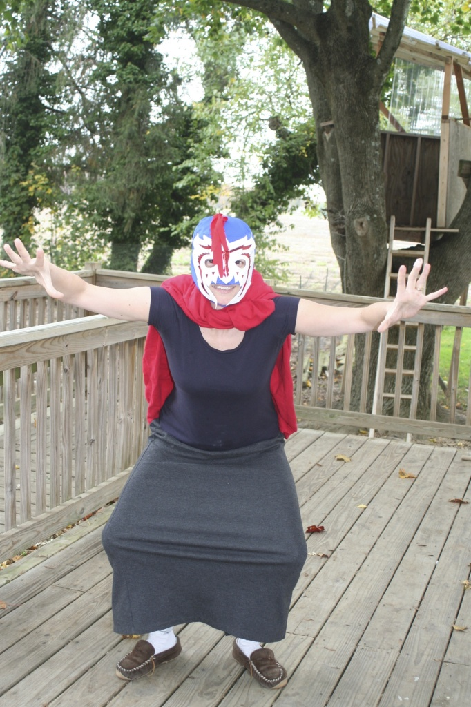 Me as a luchador. I'm either the coolest or the most embarrassing mom ever.